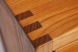 """Pierre Chapo's """"R07"""" sideboard, detailed view of corner joinery"""