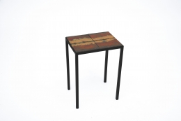 """Pierre Sabatier's """"Volvic Flamme"""" side table, full diagonal view"""