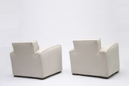 Jacques Adnet pair of club armchairs back view