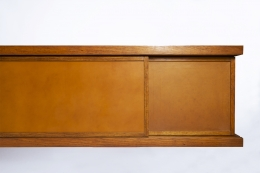 """Pierre Chapo's """"Le Pettit"""" sideboard detail view of leather and right side"""