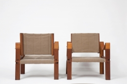 Pierre Chapo's pair of armchairs back and front view