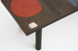 Pierre and Vera Székely's ceramic coffee table, detailed view of signature on corner