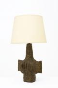 Vallauris' ceramic table lamp, full diagonal view