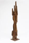Ricardo Santamaria large wooden sculpture, full diagonal view