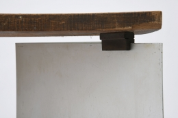 """Jean Paul Barray's """"Hommage à Le Corbusier - Chandigarh"""" table detail of table top and leg joinery"""