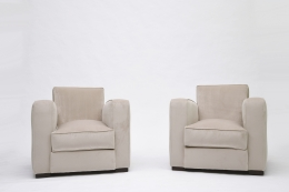 Jacques Adnet pair of club armchairs front view