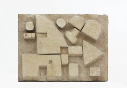 """Pierre Székely's """"Le Chasseur"""" limestone relief, full straight view"""