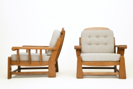 Maison Regain's pair of armchairs, side and front views
