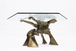 """Caroline Lee's """"La faiseuse d'amour"""" sculptural dining table view from below with glass top"""