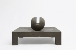 """Pierre Székely's """"Espace établi"""" sculpture, full straight view with ball turned straight"""