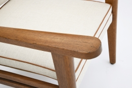 Jacques Adnet's pair of armchairs arm detail