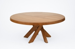 """Pierre Chapo's """"T21E"""" dining table, full view from above"""