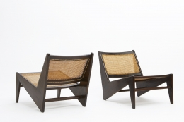 Pierre Jeanneret's pair of kangourou chairs diagonal back and front view