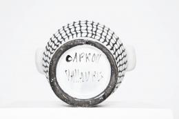 Roger Capron's ceramic vase detail of signature on bottom