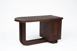 Francisque Chaleyssin's wooden desk back diagonal view