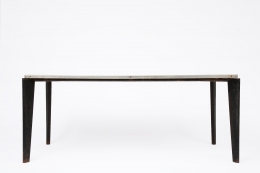 Jean Prouvé's aluminum dining table, full straight view