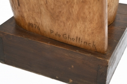 Paul de Ghellinck's wooden sculpture detailed view of signature and date on base