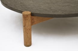 Charlotte Perriand's slate coffee table, detailed view of leg from above