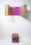 Forrest Myer's Altar, installation view from Art et Industrie exhibition with Forrest Myer's pink tuffit below