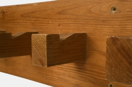 Charlotte Perriand's coatrack, detailed view of wooden hooks