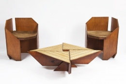 Hervé Baley's coffee table installation view with pair of Baley chairs