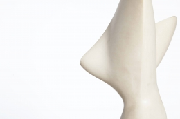 Antoine Poncet's marble and plaster sculpture, detailed view of plaster form