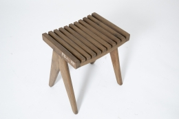 Pierre Jeanneret's pair of stools, full view from above of single stool