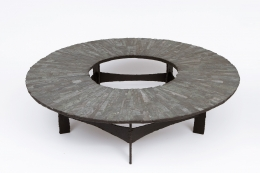 Pia Manu's circular coffee table full view from above
