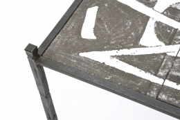 Robert and Jean Cloutier's ceramic coffee table detailed view of metal frame and ceramic top