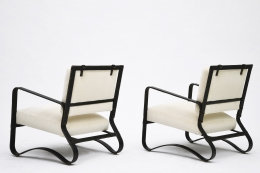 Jacques Adnet pair of armchairs side and back view