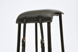 Jacques Adnet stool seat and buckle detail