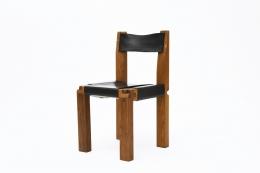 "Pierre Chapo's Set of eight ""S11E"" chairs, single chair diagonal view"
