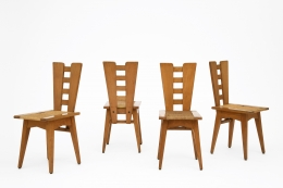 Henry Jacques Le Même's Set of 4 chairs, full view of all chairs, slightly turned