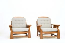 Maison Regain's pair of armchairs, front diagonal views