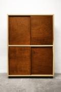 Le Corbusier's 4-door built-in closet, full straight view with doors closed