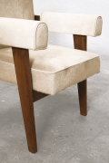 """Le Corbusier, Pierre Jeanneret & Jeet Lal Malhotra's """"Advocate and Press"""" armchairs, detailed view of arm, legs and seat"""