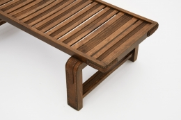 Jacques Adnet coffee table/bench top detail