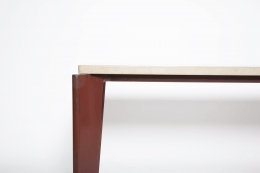 Jean Prouvé's dining table, Flavigny Model, detailed view of leg