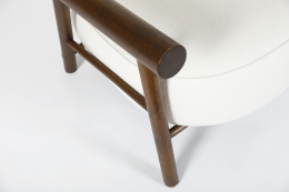 Attributed to Charlotte Perriand, pair of armchairs, detailed view of arms on single chair