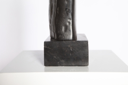 Alexandre Noll's ebony sculpture, detailed view of signature