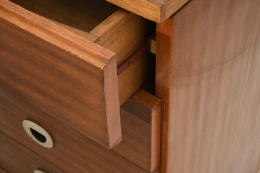 Marcel Gascoin's sideboard, detailed view of one drawer slightly open