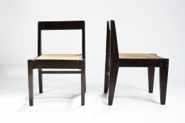 Pierre Jeanneret's pair of demountable chairs front and side view