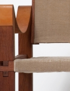 Pierre Chapo's pair of armchairs detailed view of arm and upholstery