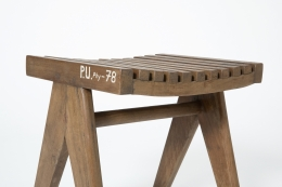 Pierre Jeanneret's pair of stools, close up view of single stool
