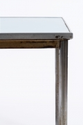 "Le Corbusier, Pierre Jeanneret and Charlotte Perriand's ""B307"" table for Chez Soi detailed view of metal leg and table top"