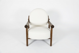 Attributed to Charlotte Perriand, pair of armchairs, single chair front view from above