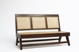 Pierre Jeannerets three-seat sofa diagonal view without cushion