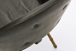 Jacques Adnet's pair of armchairs leather detail