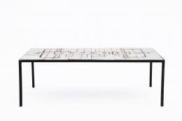 Jean Rivier's ceramic coffee table, full straight view