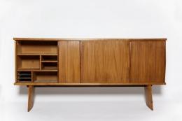 Charlotte Perriand & Pierre Jeanneret's Sideboard, Equipement de la Maison, full straight view with left door open